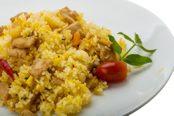 Rice with chicken and pineple isolated